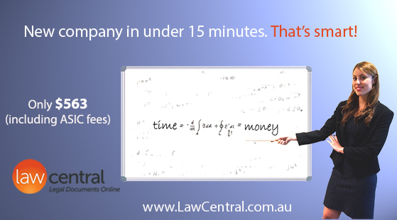 New company in under 15 minutes. That's smart! Only $552 (including ASIC fees)